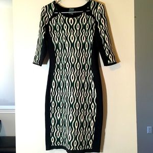 Bodycon Retro Dress Colorblock Vintage Fitted